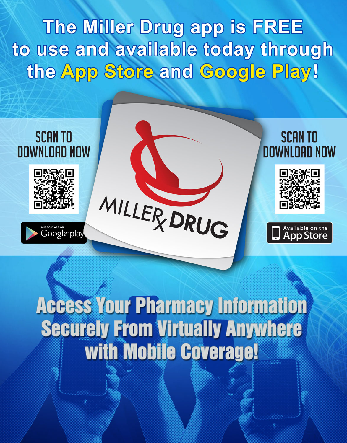 Pharmacy marketing materials including posters, bag stuffers, patient intake forms, and display ads.