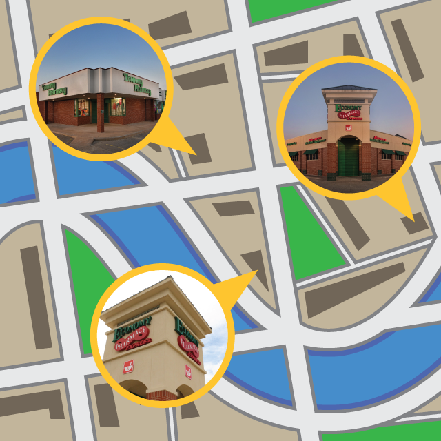Map of the multiple locations of a multi-site pharmacy business.