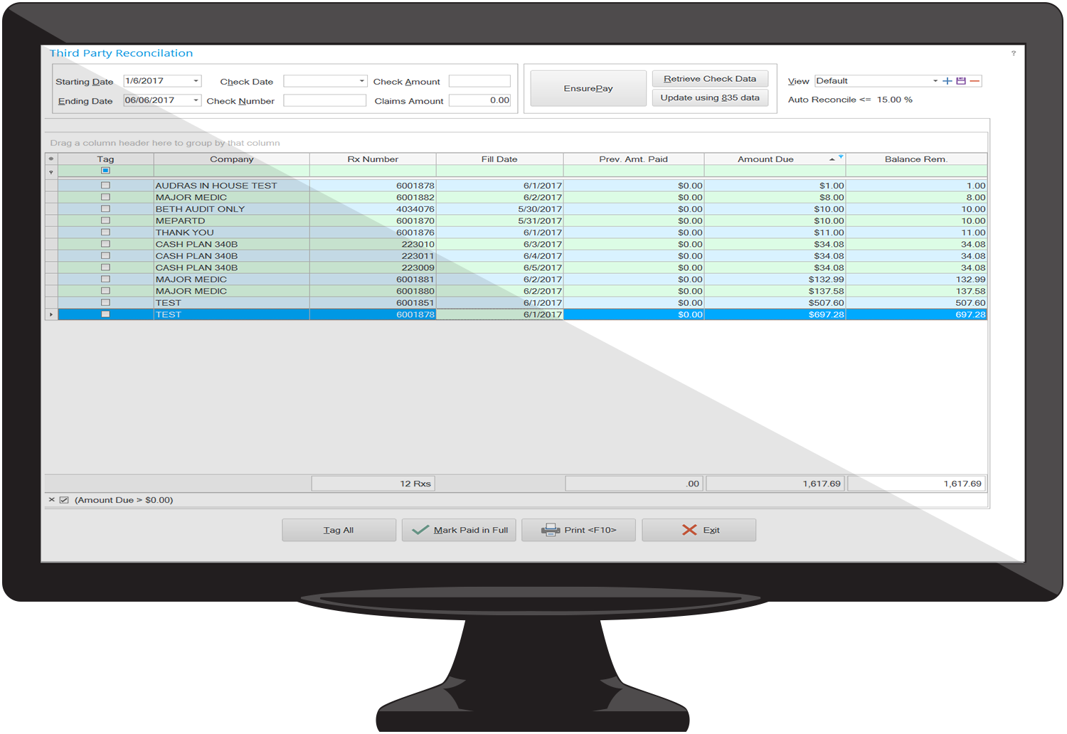 WinRx multi-site pharamcy management software report for processing claims.